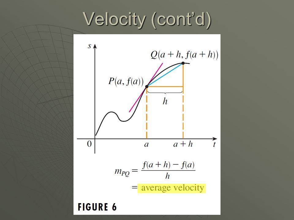 Velocity (cont'd)