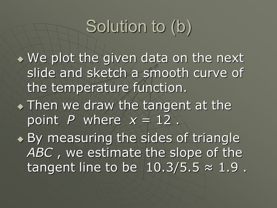 Solution to (b)  We plot the given data on the next slide and sketch a smooth curve of the temperature function.