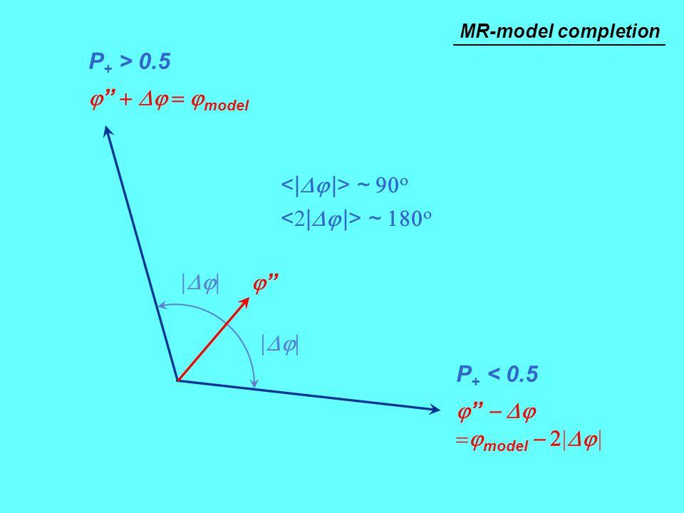"""P + > 0.5  """"  model P + < 0.5  """"   model    ~   ~   """"""""  MR-model completion"""