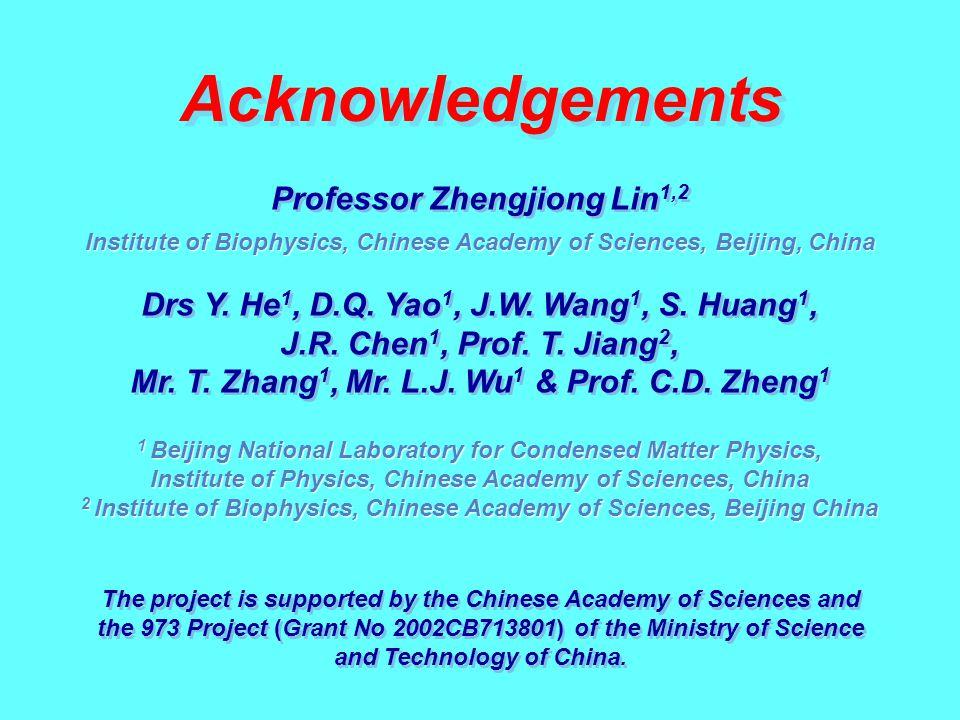 Institute of Biophysics, Chinese Academy of Sciences, Beijing, China Acknowledgements Professor Zhengjiong Lin 1,2 1 Beijing National Laboratory for C