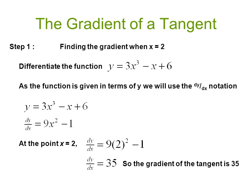 The Gradient of a Tangent Step 1 :Finding the gradient when x = 2 Differentiate the function As the function is given in terms of y we will use the dy