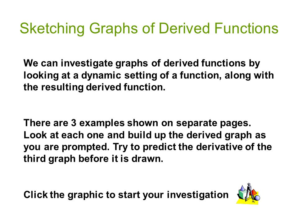 Sketching Graphs of Derived Functions We can investigate graphs of derived functions by looking at a dynamic setting of a function, along with the res