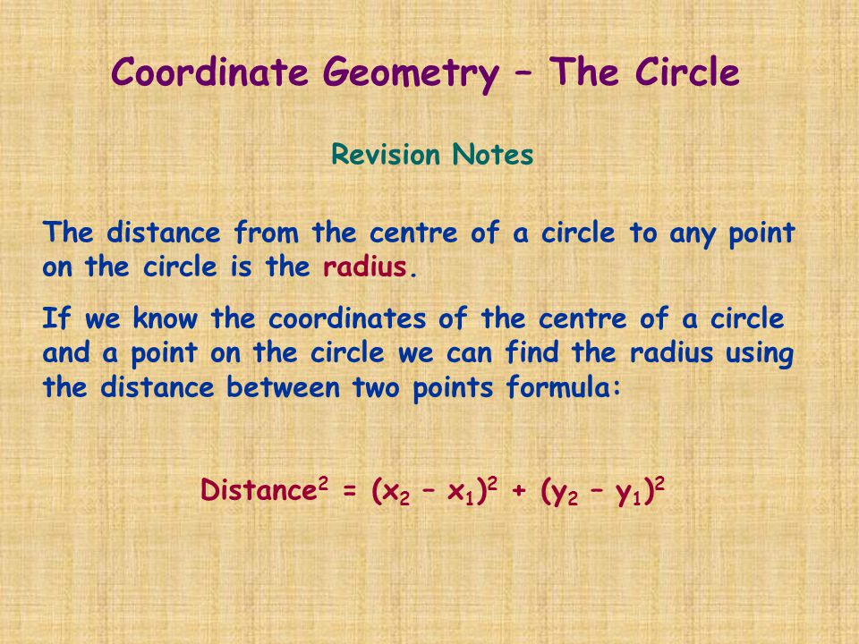 Revision Notes The distance from the centre of a circle to any point on the circle is the radius. If we know the coordinates of the centre of a circle