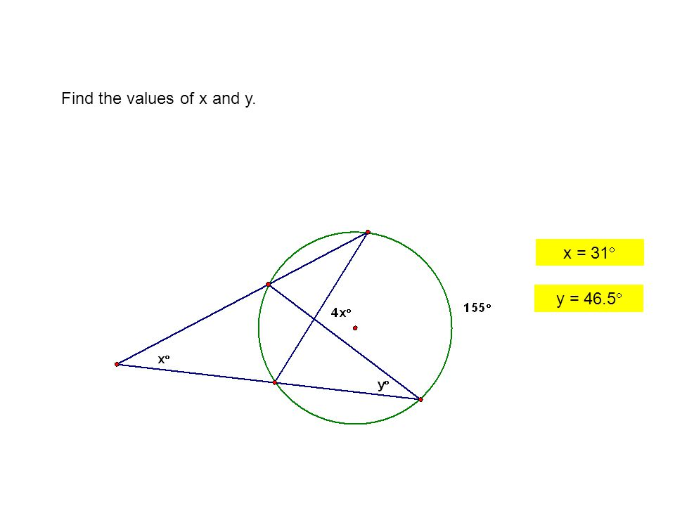 Find the values of x and y. x = 31  y = 46.5 