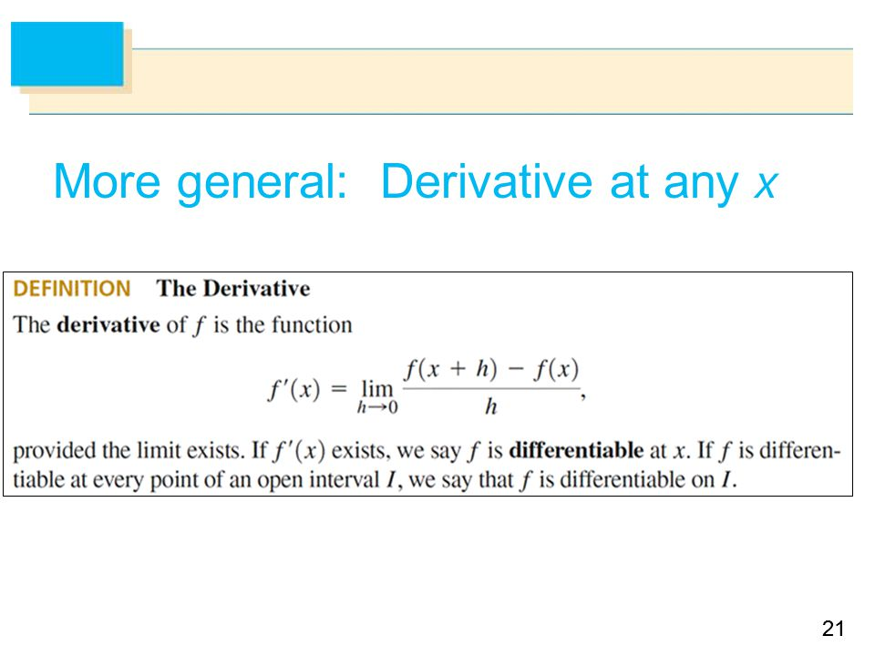 21 More general: Derivative at any x