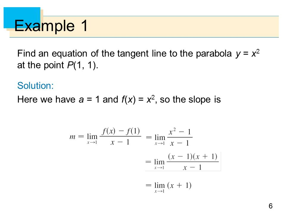 77 Example 1 – Solution Using the point-slope form of the equation of a line, we find that an equation of the tangent line at (1, 1) is y – 1 = 2(x – 1) or y = 2x – 1 cont'd
