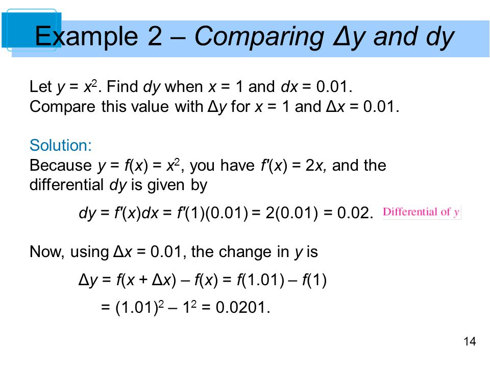 14 Example 2 – Comparing Δy and dy Let y = x 2. Find dy when x = 1 and dx = 0.01.