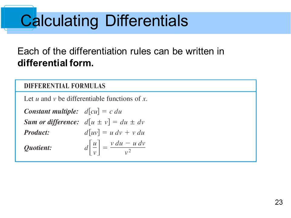 23 Each of the differentiation rules can be written in differential form. Calculating Differentials