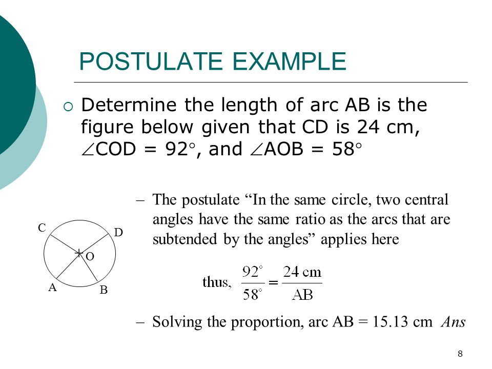 9 CIRCLE TANGENTS AND CHORD SEGMENTS  A line perpendicular to a radius at its extremity is tangent to the circle; a tangent to a circle is perpendicular to the radius at the tangent point  Two tangents drawn to a circle from a point outside the circle are equal and make equal angles with the line joining the point to the center  If two chords intersect inside a circle, the product of the two segments of one chord is equal to the product of the two segments of the other chord