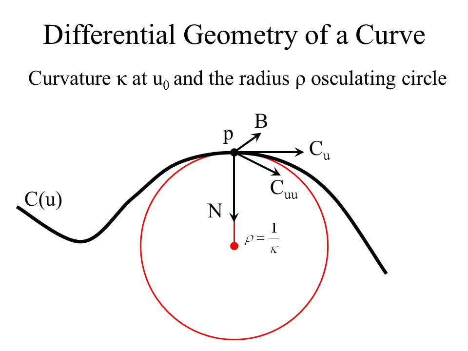 Differential Geometry of a Curve C(u) T NTNT Curvature at u 0 is the component of -N T along T C(u 0 ) C(u 1 ) N(u 0 ) N(u 1 )