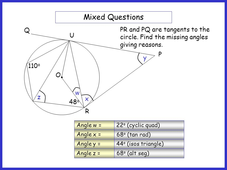 O S T 65 o P R U Mixed Questions PTR is a tangent line to the circle at T.