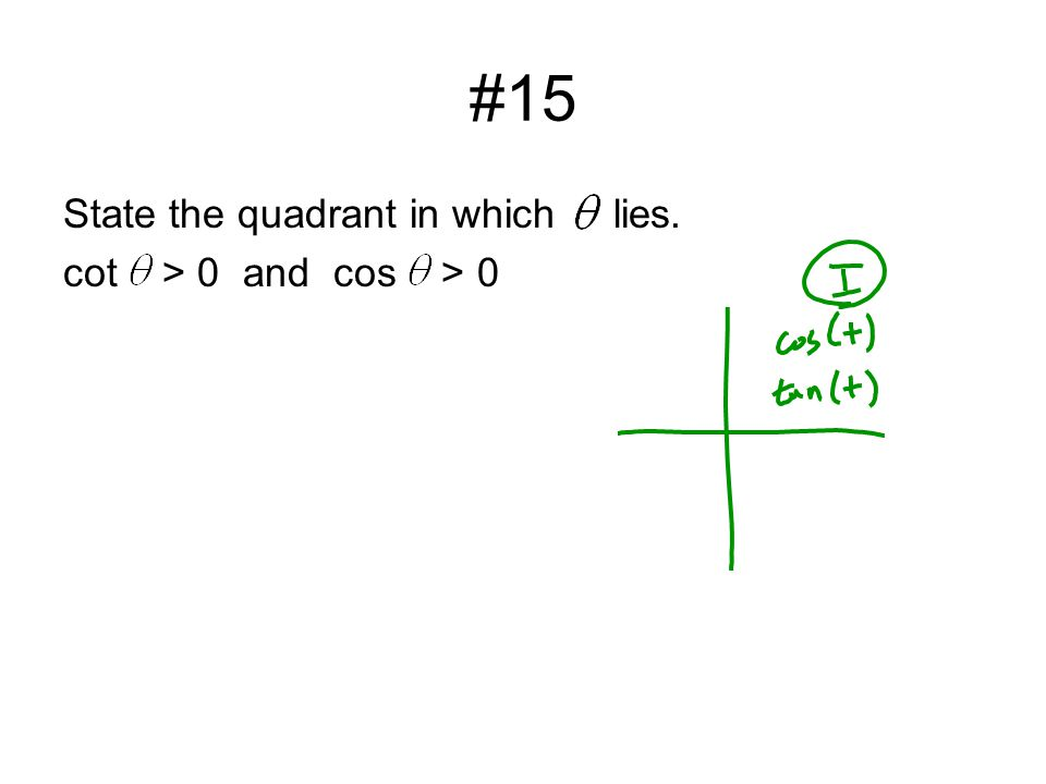 #15 State the quadrant in which lies. cot > 0 and cos > 0