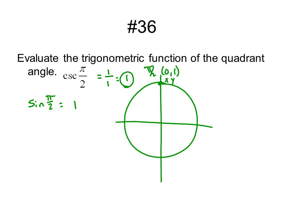 #36 Evaluate the trigonometric function of the quadrant angle.