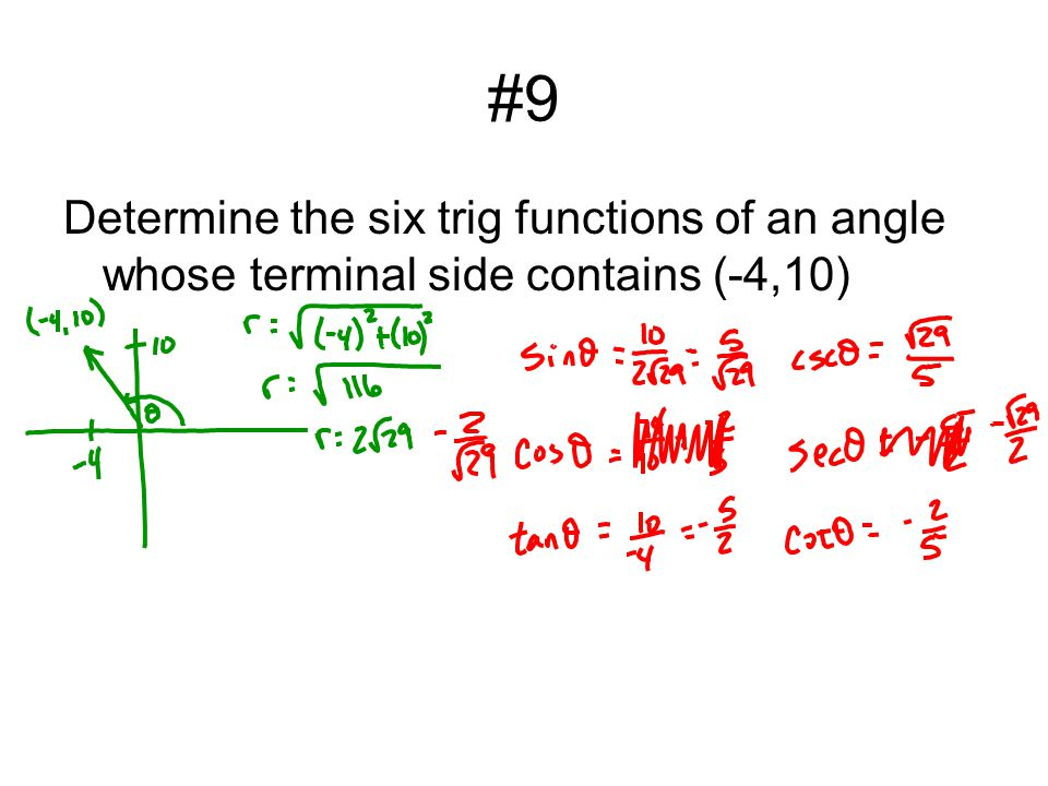 #9 Determine the six trig functions of an angle whose terminal side contains (-4,10)