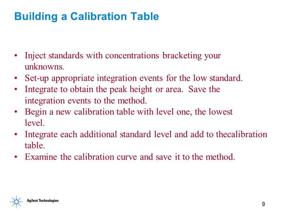 9 Building a Calibration Table Inject standards with concentrations bracketing your unknowns. Set-up appropriate integration events for the low standa