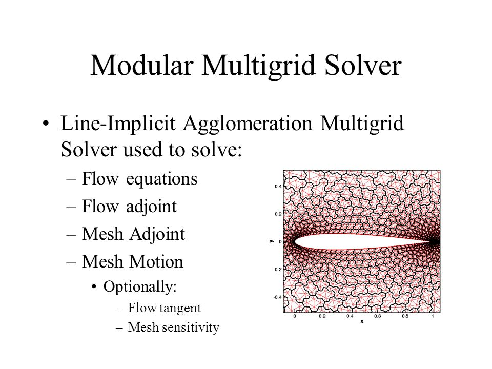Modular Multigrid Solver Line-Implicit Agglomeration Multigrid Solver used to solve: –Flow equations –Flow adjoint –Mesh Adjoint –Mesh Motion Optional