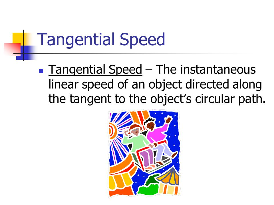 Tangential Speed vs.Angular Speed Imagine two points on a circle.