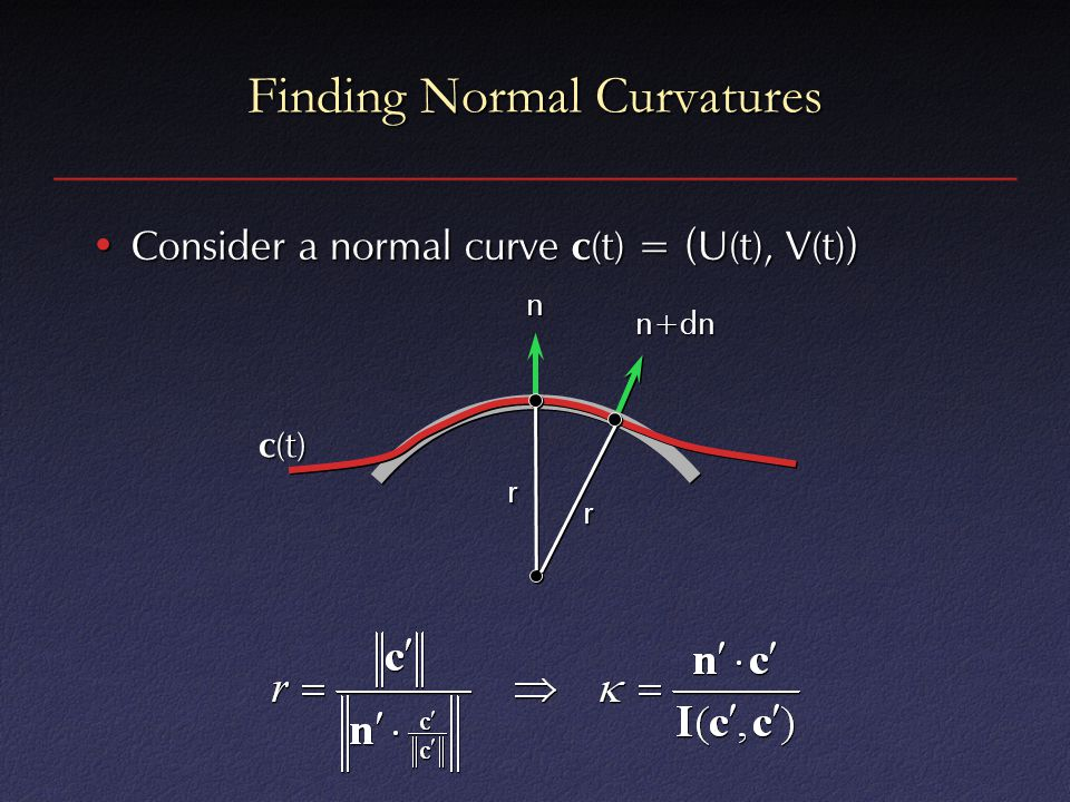 Finding Normal Curvatures Consider a normal curve c (t) = ( U(t), V(t) )Consider a normal curve c (t) = ( U(t), V(t) ) c (t) r r n n+dn