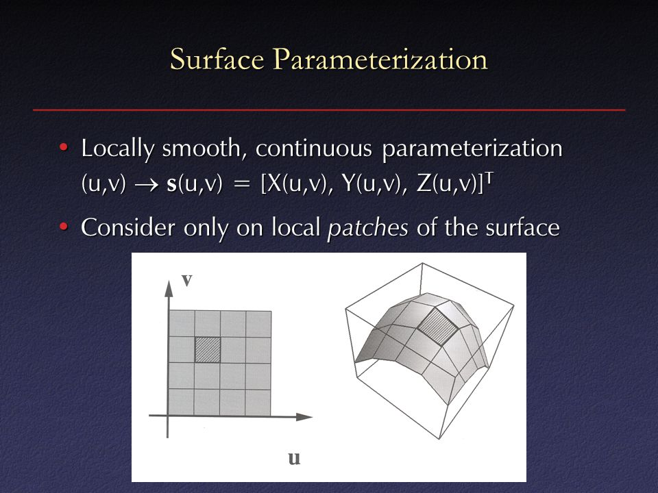 Surface Parameterization Locally smooth, continuous parameterization (u,v)  s (u,v) = [X(u,v), Y(u,v), Z(u,v)] TLocally smooth, continuous parameteri