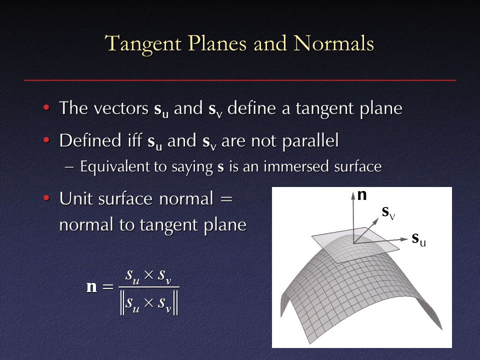 Tangent Planes and Normals The vectors s u and s v define a tangent planeThe vectors s u and s v define a tangent plane Defined iff s u and s v are no