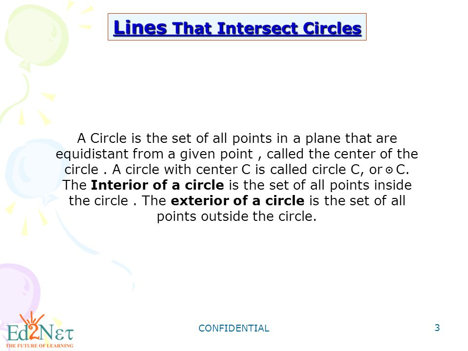 CONFIDENTIAL 4 Lines and Segments That Intersects circles TERMDIAGRAM A Chord is a segment whose end points lie on a circle.