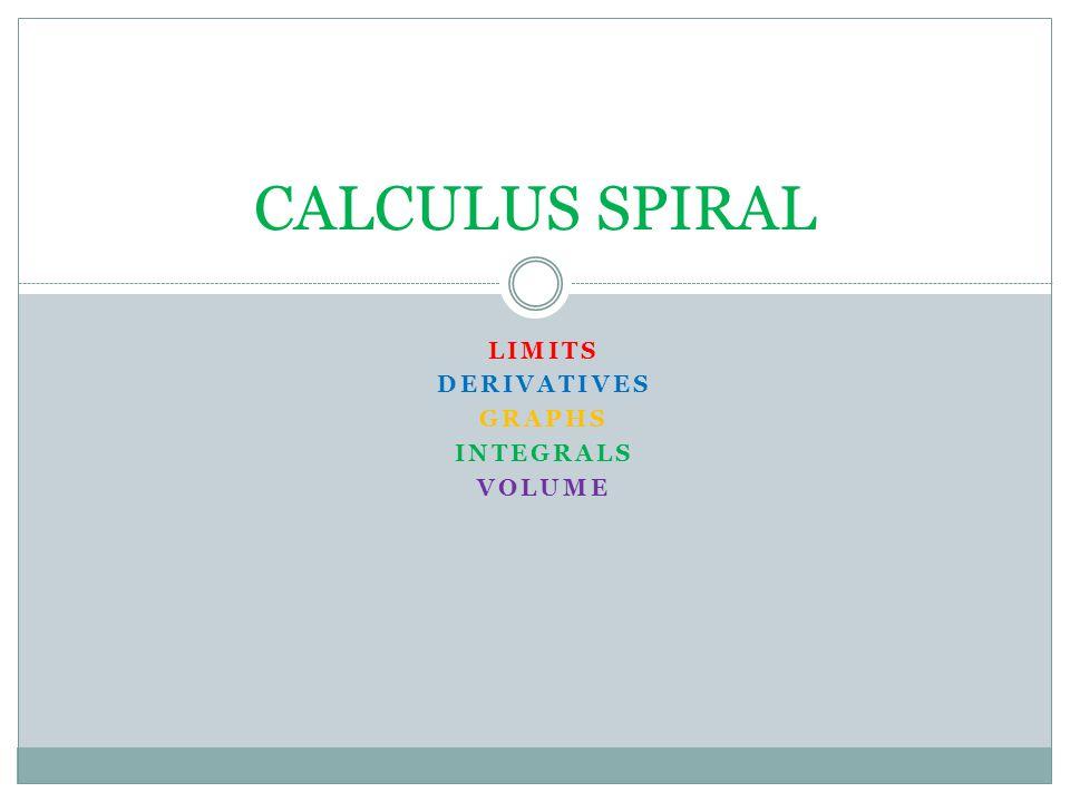 LIMITS DERIVATIVES GRAPHS INTEGRALS VOLUME CALCULUS SPIRAL