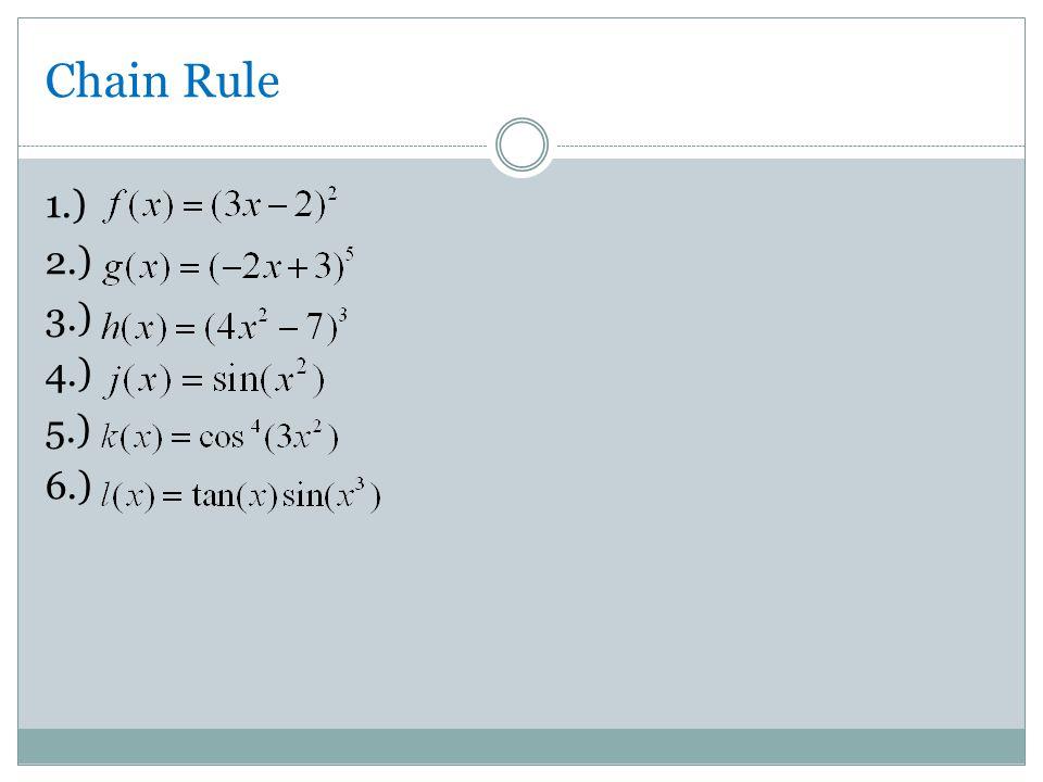 Chain Rule 1.) 2.) 3.) 4.) 5.) 6.)