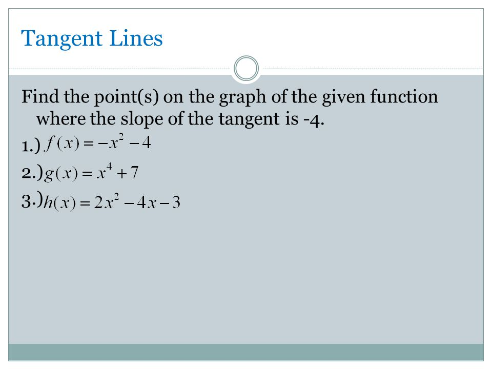 Tangent Lines Find the point(s) on the graph of the given function where the slope of the tangent is -4.
