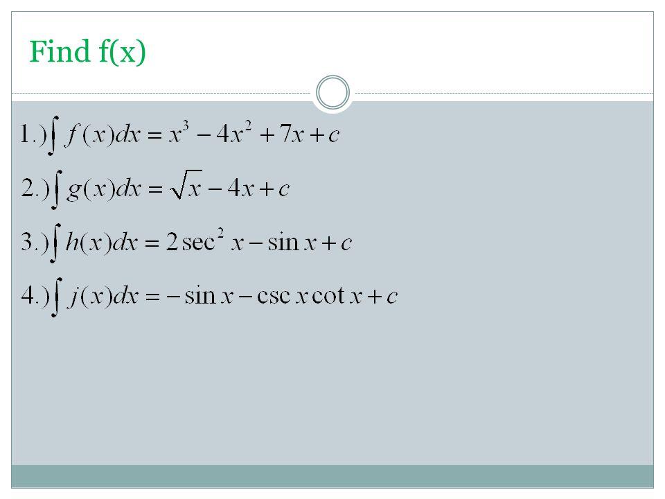 Find f(x)