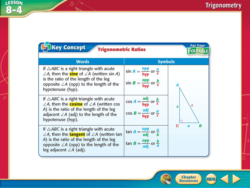 Example 1 Find Sine, Cosine, and Tangent Ratios A.