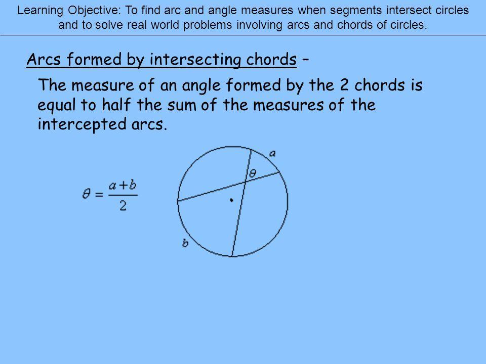 Learning Objective: To find arc and angle measures when segments intersect circles and to solve real world problems involving arcs and chords of circl