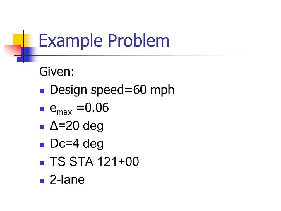 Example Problem Given: Design speed=60 mph e max =0.06 Δ=20 deg Dc=4 deg TS STA 121+00 2-lane