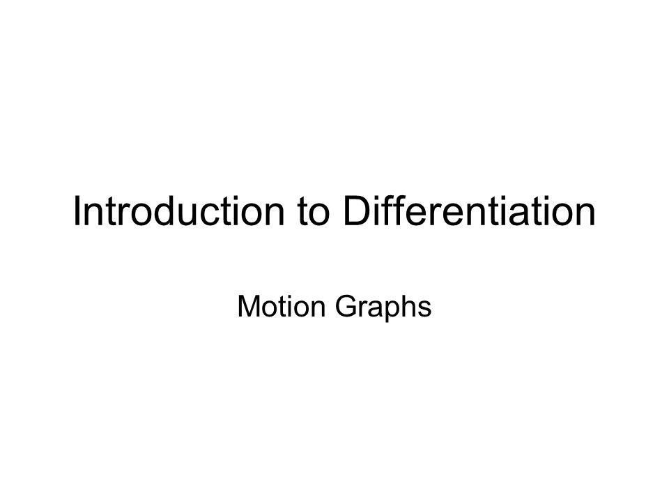Introduction to Differentiation Motion Graphs