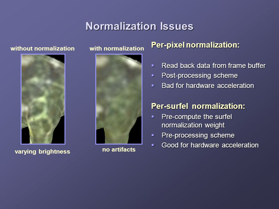 Normalization Issues without normalization varying brightness with normalization no artifacts Per-pixel normalization:  Read back data from frame buf