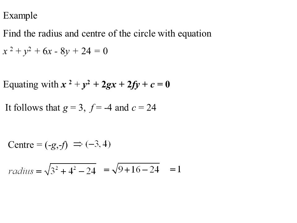 The General Equation of a Circle This is the general equation of a circle centre (-g, -f) and radius