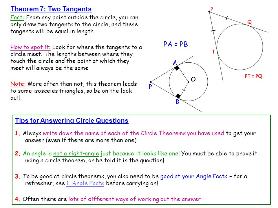 Theorem 7: Two Tangents Fact: From any point outside the circle, you can only draw two tangents to the circle, and these tangents will be equal in len