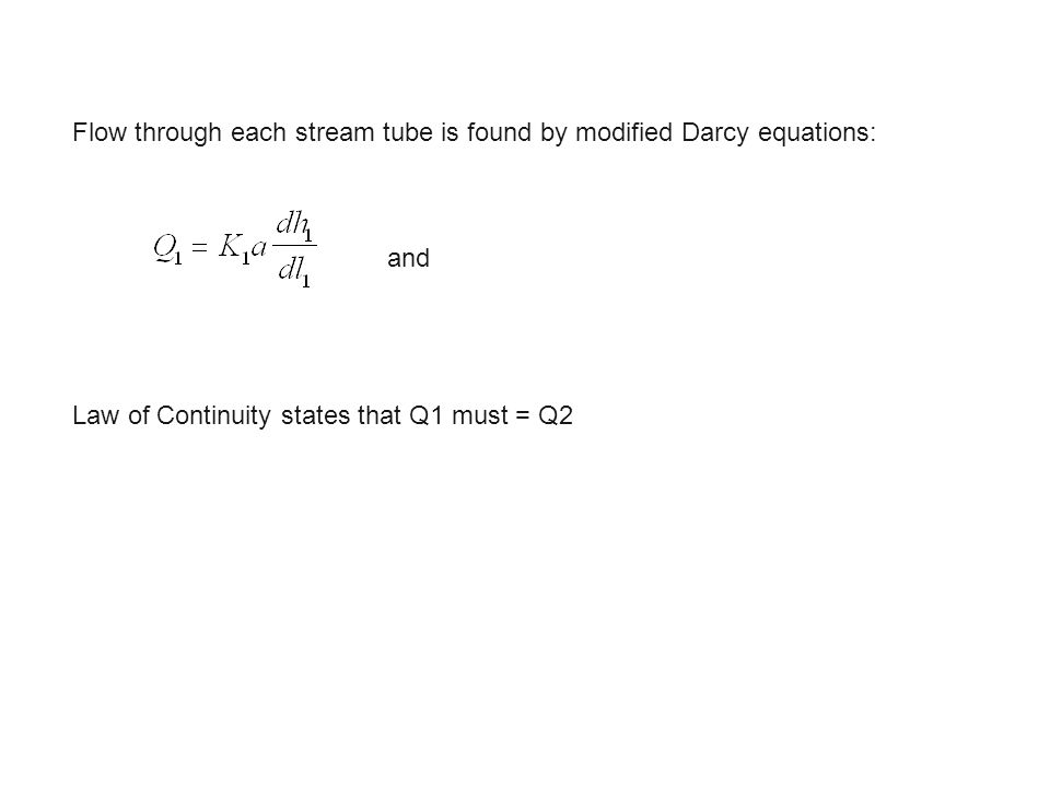 Flow through each stream tube is found by modified Darcy equations: and Law of Continuity states that Q1 must = Q2