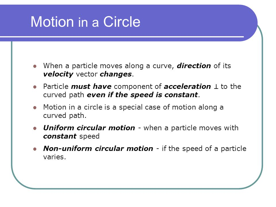 When a particle moves along a curve, direction of its velocity vector changes. Particle must have component of acceleration  to the curved path even