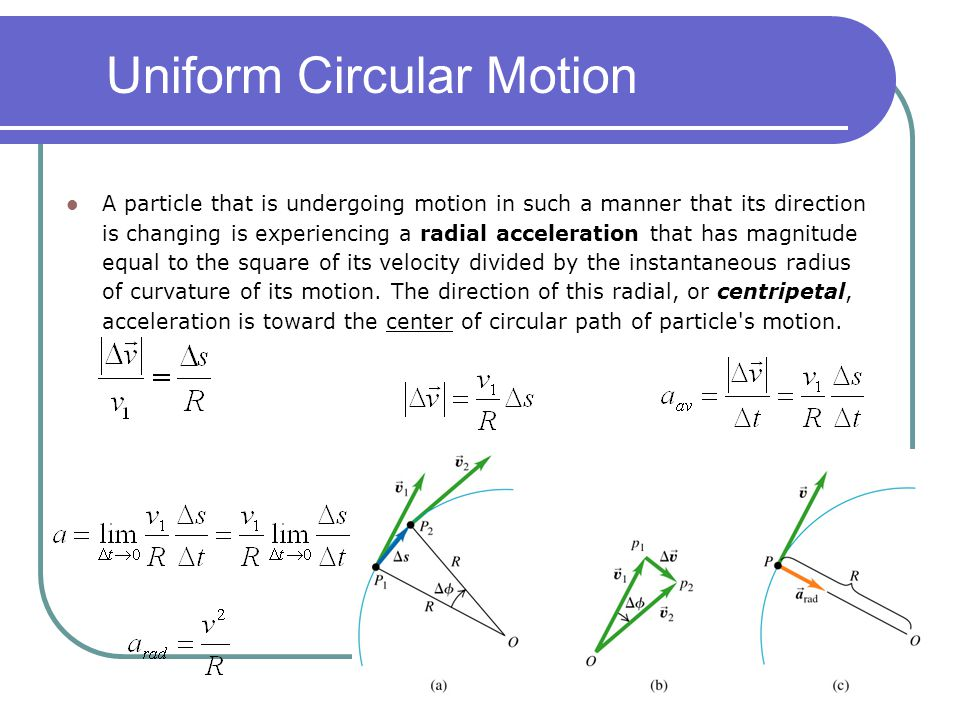 Uniform Circular Motion A particle that is undergoing motion in such a manner that its direction is changing is experiencing a radial acceleration tha