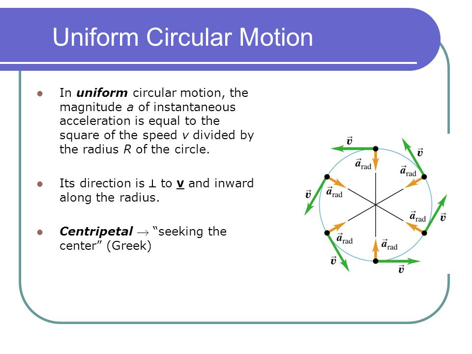 Uniform Circular Motion In uniform circular motion, the magnitude a of instantaneous acceleration is equal to the square of the speed v divided by the