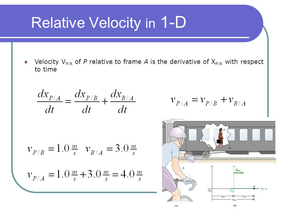 Relative Velocity in 1-D Velocity V P/A of P relative to frame A is the derivative of X P/A with respect to time