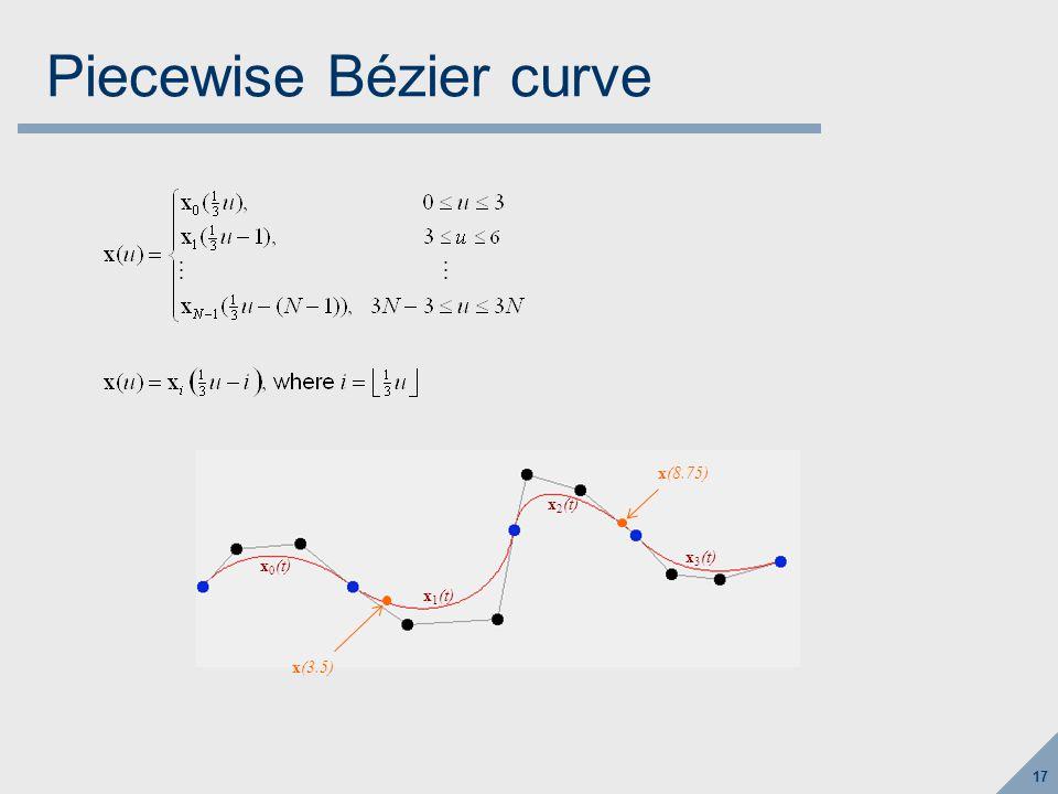 17 Piecewise Bézier curve x 0 (t) x 1 (t) x 2 (t) x 3 (t) x(3.5) x(8.75)