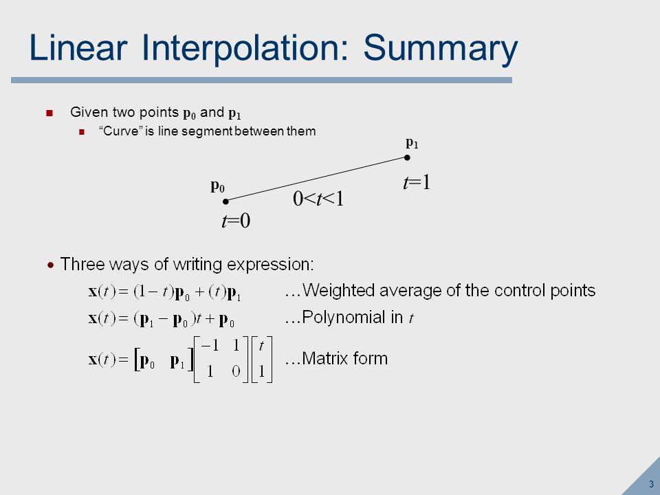 44 Bézier Control Mesh A bicubic patch has a grid of 4x4 control points, p 0 through p 15 Defines four Bézier curves along u: p 0,1,2,3 ; p 4,5,6,7 ; p 8,9,10,11 ; p 12,13,14,15 Defines four Bézier curves along v: p 0,4,8,12 ; p 1,6,9,13 ; p 2,6,10,14 ; p 3,7,11,15 Evaluate using same approach as bilinear… p0p0 p1p1 p2p2 p3p3 p4p4 p5p5 p6p6 p7p7 p8p8 p9p9 p 10 p 11 p 12 p 13 p 14 p 15 u v