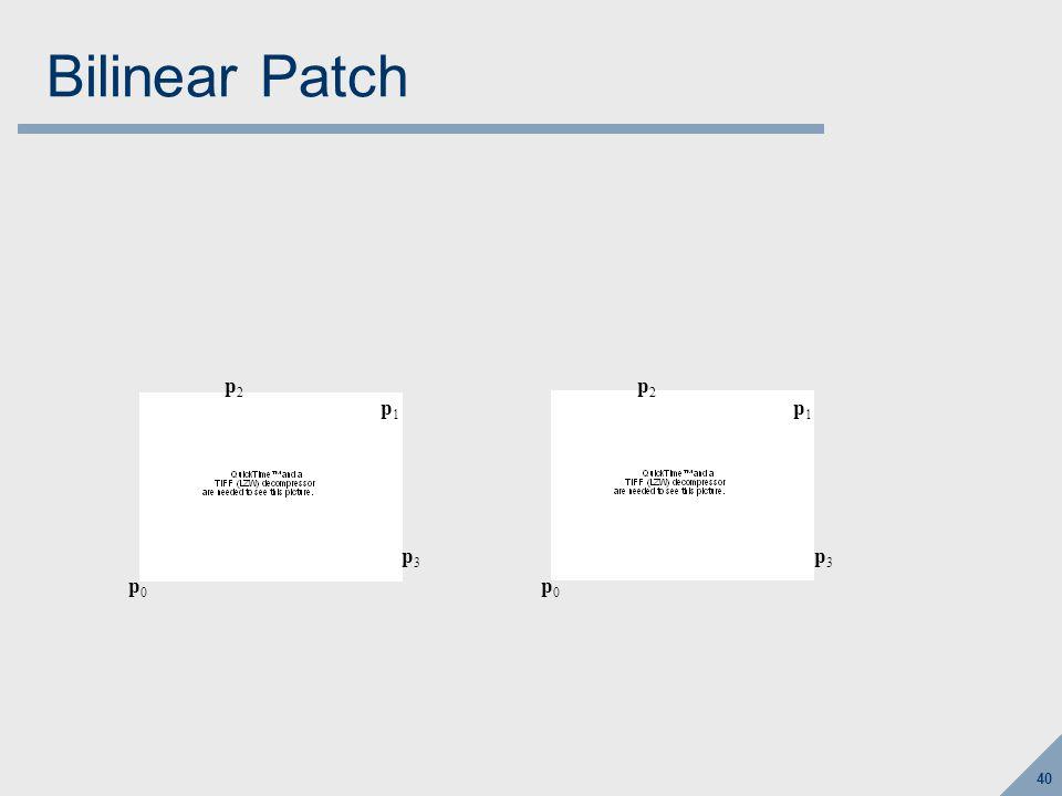 40 Bilinear Patch p0p0 p1p1 p2p2 p3p3 p0p0 p1p1 p2p2 p3p3