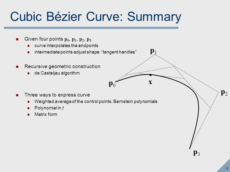 45 Bézier patch (step 1) Evaluate all four of the u-direction Bézier curves at u, to get points q 0 … q 3 p0p0 p1p1 p2p2 p3p3 p4p4 p5p5 p6p6 p7p7 p8p8 p9p9 p 10 p 11 p 12 p 13 p 14 p 15 u v q0q0 q1q1 q2q2 q3q3