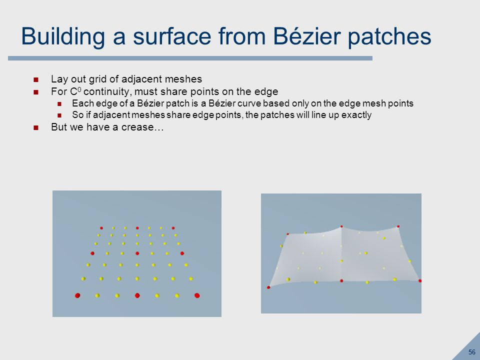 56 Building a surface from Bézier patches Lay out grid of adjacent meshes For C 0 continuity, must share points on the edge Each edge of a Bézier patch is a Bézier curve based only on the edge mesh points So if adjacent meshes share edge points, the patches will line up exactly But we have a crease…