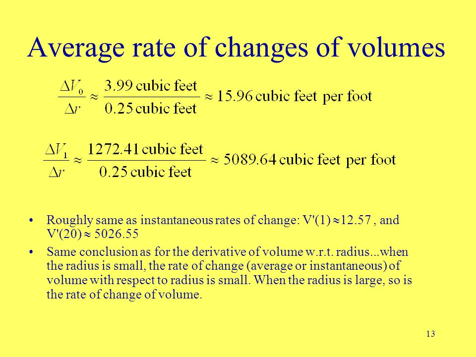 13 Average rate of changes of volumes Roughly same as instantaneous rates of change: V'(1)  12.57, and V'(20)  5026.55 Same conclusion as for the de