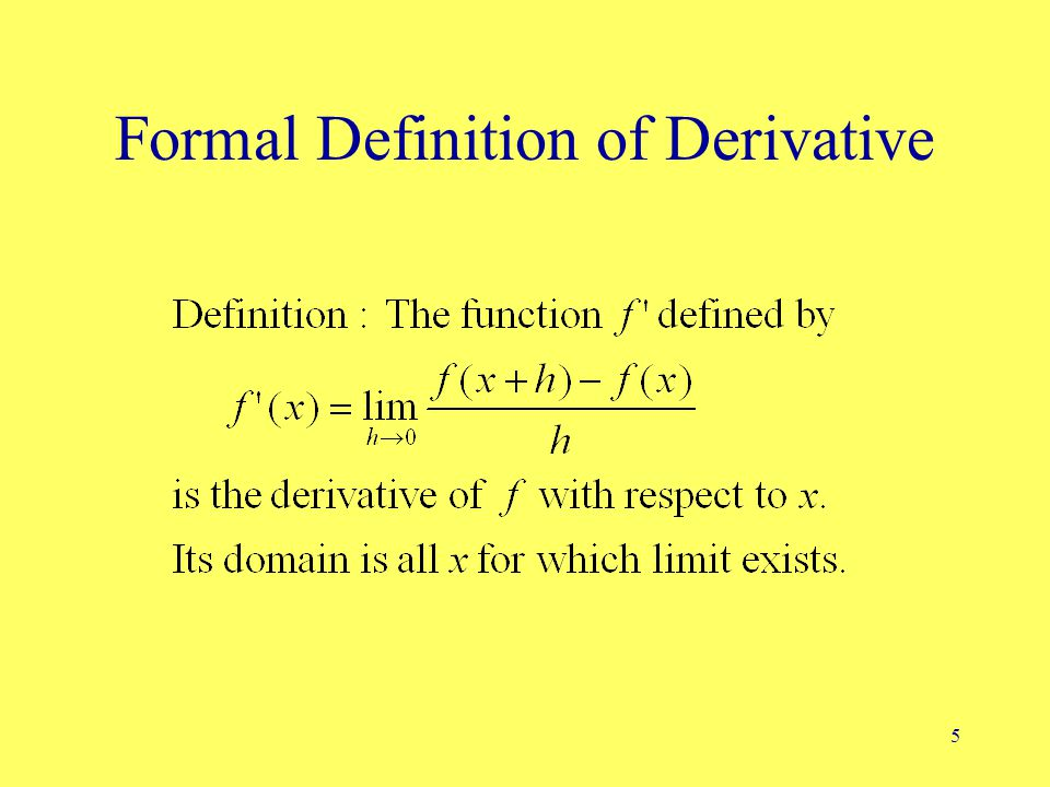5 Formal Definition of Derivative