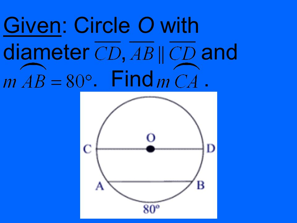 Given: Circle O with diameter, and. Find.
