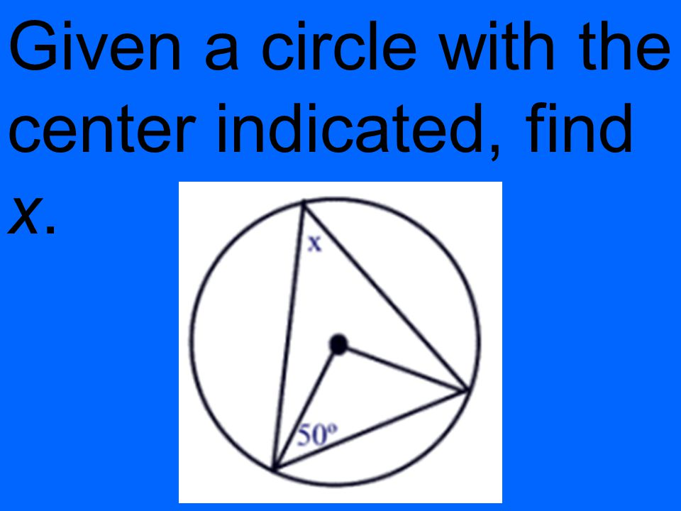 Given a circle with the center indicated, find x.
